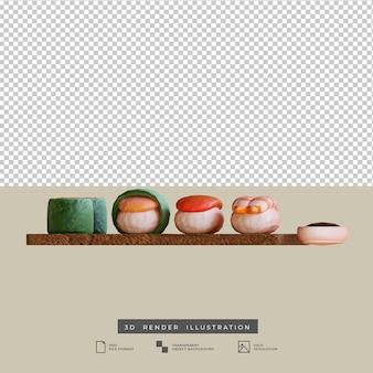 Illustrazione 3d di vista frontale dei sushi dell'alimento giapponese di stile dell'argilla