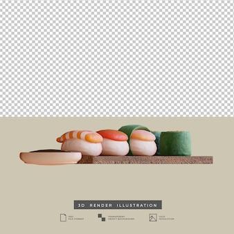 Illustrazione 3d di vista laterale dei sushi dell'alimento giapponese di stile dell'argilla
