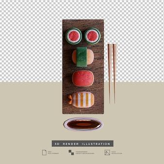 Illustrazione 3d di vista dall'alto di sushi di cibo giapponese in stile argilla