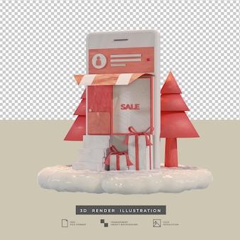L'app mobile per lo shopping natalizio a tema rosa in stile argilla progetta l'illustrazione 3d