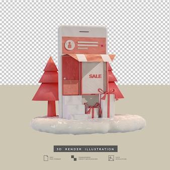 Tema rosa in stile argilla shopping natalizio mobile app design vista laterale illustrazione 3d