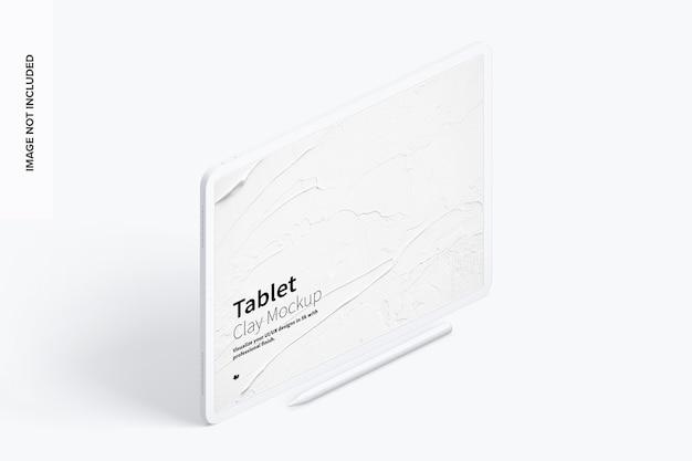 Clay tablet 12.9 mockup in vista isometrica