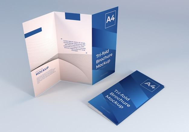 Mockup di brochure a tre ante a4 pulito