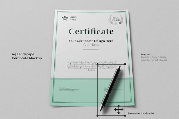 Modello modificabile realistico di certificato corporativo verticale a4 pulito con penna firma