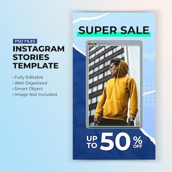 Scheda interfaccia pulita per il modello di storie sui social media di instagram di vendita di moda