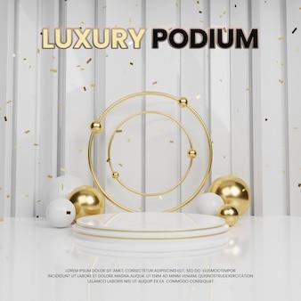 Esposizione del prodotto clean luxury premium gold podio