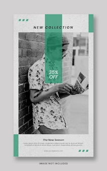 Pulisci il modello dell'insegna di storie di instagram di social media di promozione della nuova collezione verde minimo
