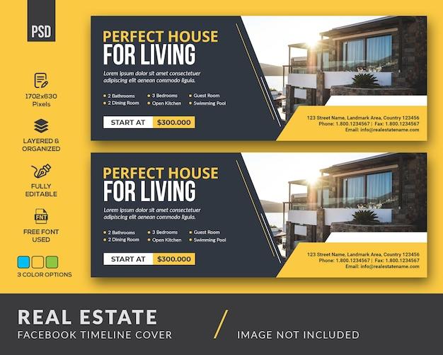 Modello di copertina della timeline di facebook di clean real estate