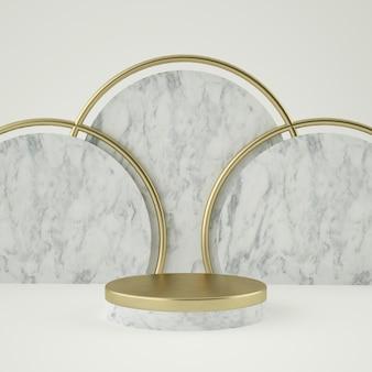 Pulisca il piedistallo del prodotto dell'oro bianco, la struttura dell'oro, il memoriale, il concetto minimo astratto, lo spazio in bianco, il design pulito, il lusso. rendering 3d