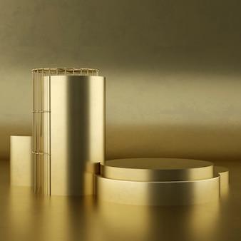 Piedistallo prodotto in oro bianco pulito, montatura in oro, lavagna commemorativa, concetto minimo astratto, spazio vuoto, design pulito, lusso. rendering 3d