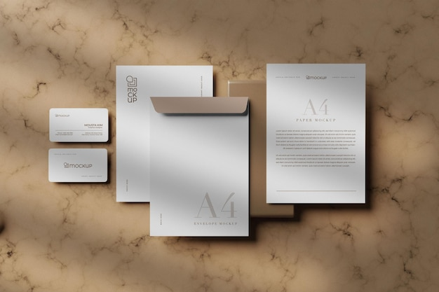 Design mockup stazionario bianco pulito