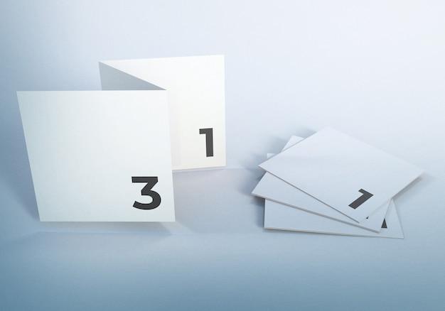 Opuscolo di affari di mockup di volantino a tre ante bianco pulito