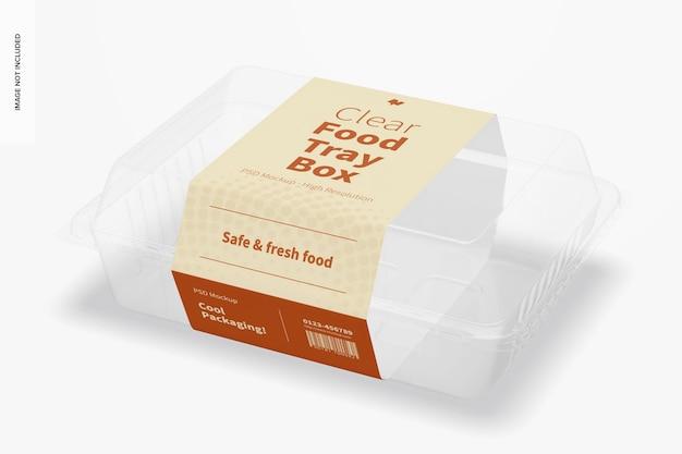 Mockup di scatola per vassoio per alimenti trasparente