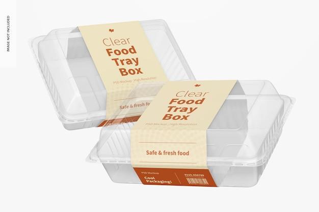 Mockup di scatole per vassoi per alimenti trasparenti, galleggianti