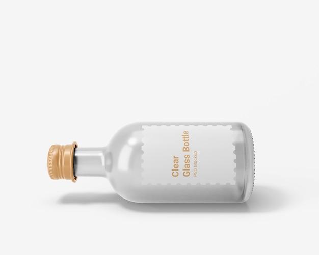 Bottiglia per bevande in vetro trasparente con tappo a vite in alluminio mockup