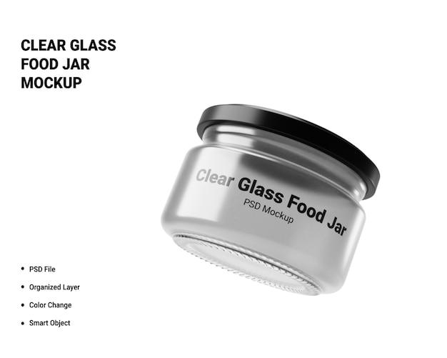 Mockup di barattolo per alimenti in vetro trasparente Psd Premium