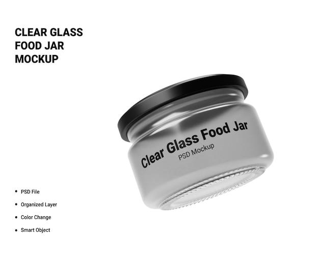 Mockup di barattolo per alimenti in vetro trasparente