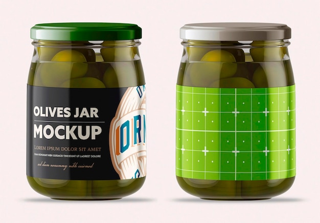 Vaso in vetro trasparente con olive mockup design isolato