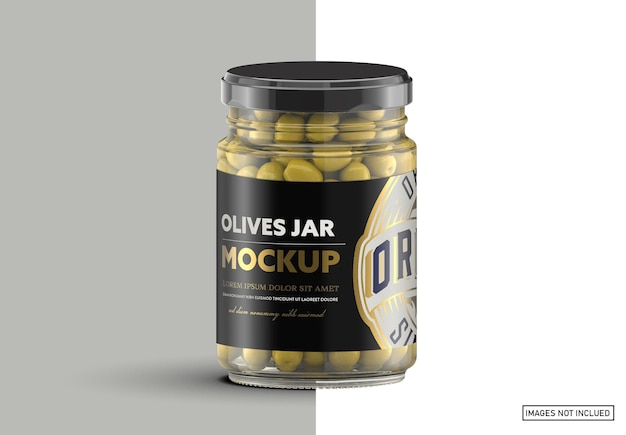Barattolo di vetro trasparente con olive mockup