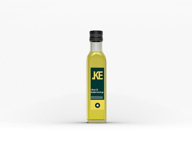Bottiglia di olio d'oliva in vetro trasparente mockup