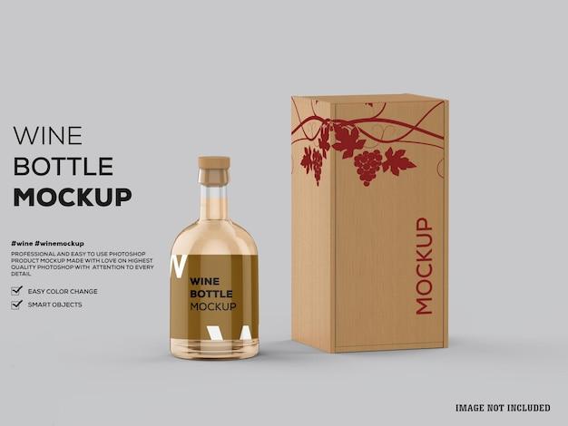 Mockup di bottiglia di vino bianco in vetro trasparente