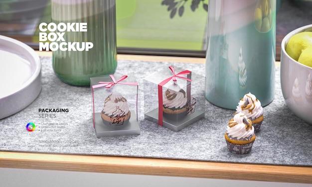 Mockup di scatola di cupcake in plastica trasparente