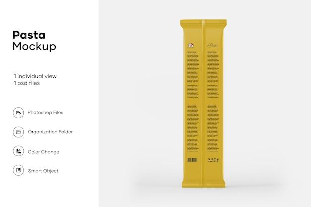 Mockup di imballaggio per spaghetti in plastica trasparente
