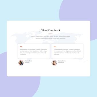 Pagina di feedback dei clienti