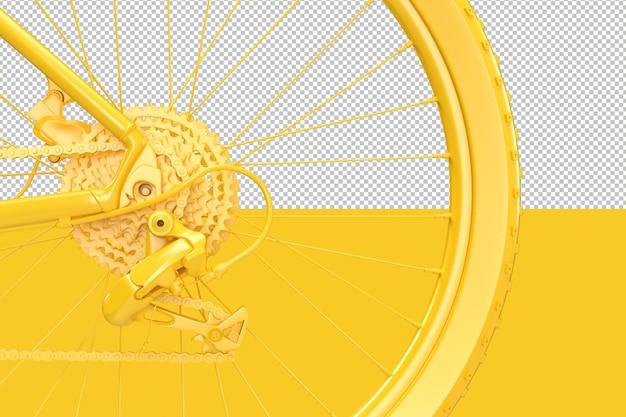 Primo piano della ruota posteriore della bicicletta con cassetta dell'ingranaggio del deragliatore e percorso di ritaglio della catena