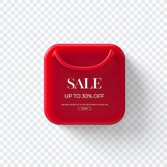 Chiuda in su sull'etichetta rossa dei vestiti di vendita 3d isolata