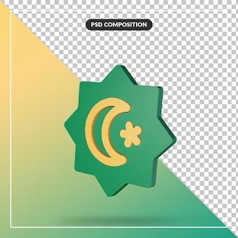 Primo piano sul concetto di rendering 3d minimo rub al hizb e mezzaluna