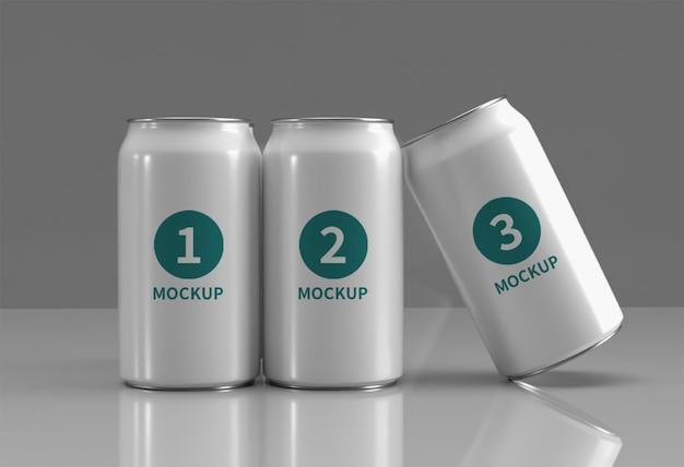 Primo piano sulla lattina per bevande mockup