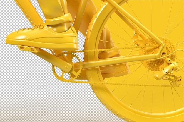Primo piano di catena della bicicletta e sistemi di ruote dentate nel rendering 3d