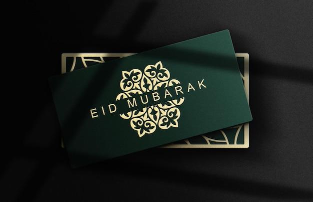 Close up box mockup con oro goffrato