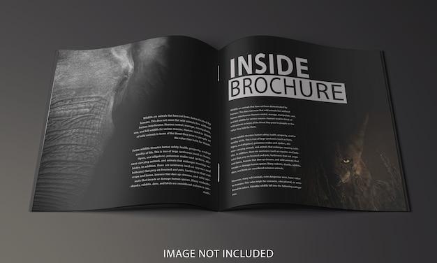 Primo piano sul design del mockup della pagina interna dell'opuscolo