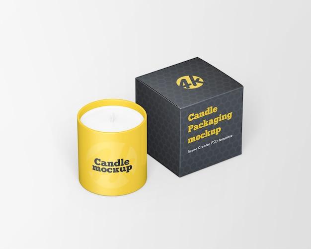 Primo piano sulla candela con mockup di scatola di candele