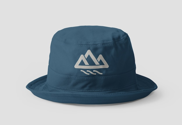 Primo piano sul mockup del cappello della benna di tela