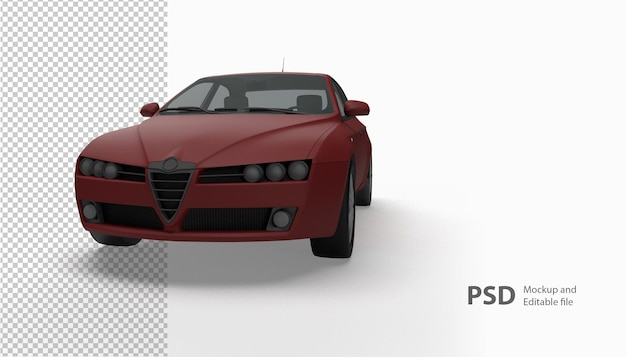 Primo piano su auto in rendering 3d isolato