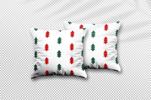 Primo piano sul design del mockup del cuscino di natale con l'ombra delle foglie di palma
