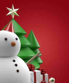 Close up pupazzo di neve di natale con albero e regalo rendering 3d