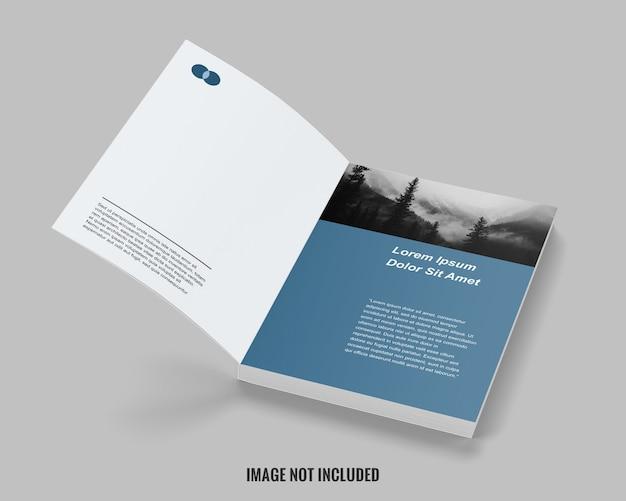 Primo piano sul mockup del libro pulito aperto alla prima pagina