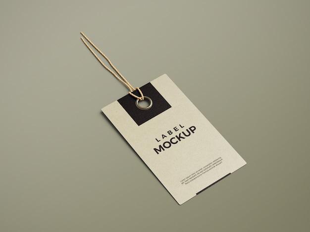 Primo piano sul mockup di tag etichetta pulito ed elegante