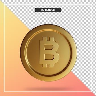 Close up close up su bitcoin coin 3d rendering isolato