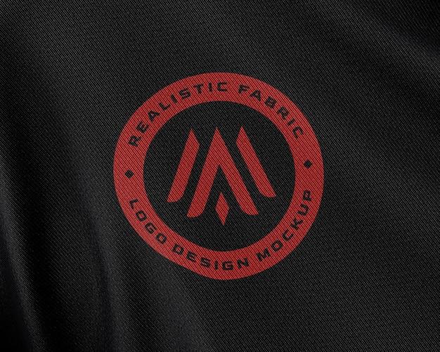 Primo piano sul tessuto in tessuto logo mockup