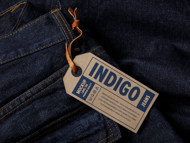 Primo piano sul mockup di tag etichetta vestiti