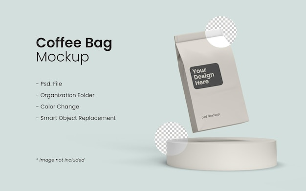 Primo piano su coffee bag mockup design isolato