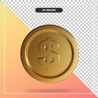 Primo piano su moneta dollaro rendering 3d isolato