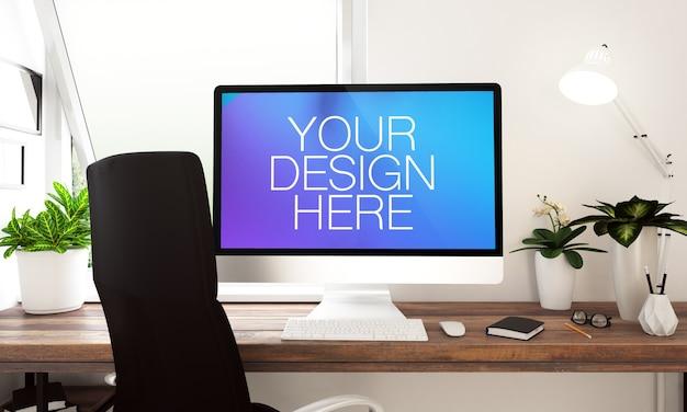 Primo piano sul mockup del computer su un desktop