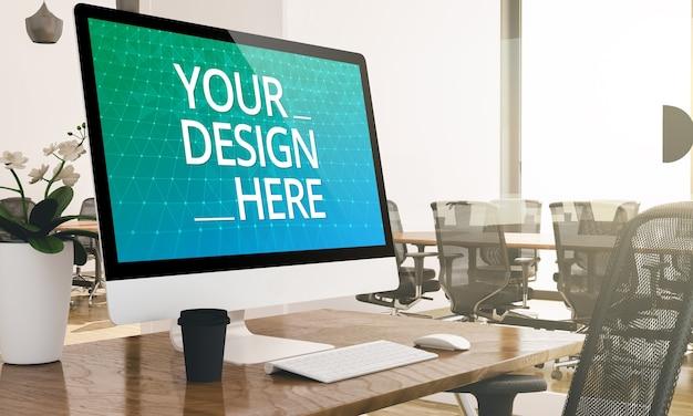 Primo piano sul computer in mockup di ufficio