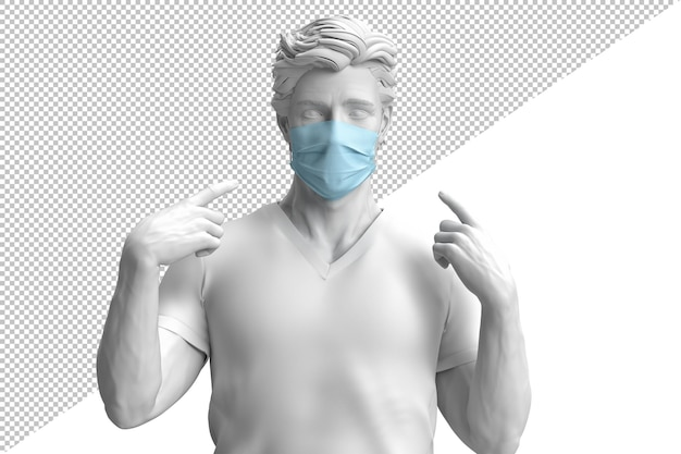 Primo piano di un uomo fiducioso nella mascherina medica protettiva nella rappresentazione 3d isolata